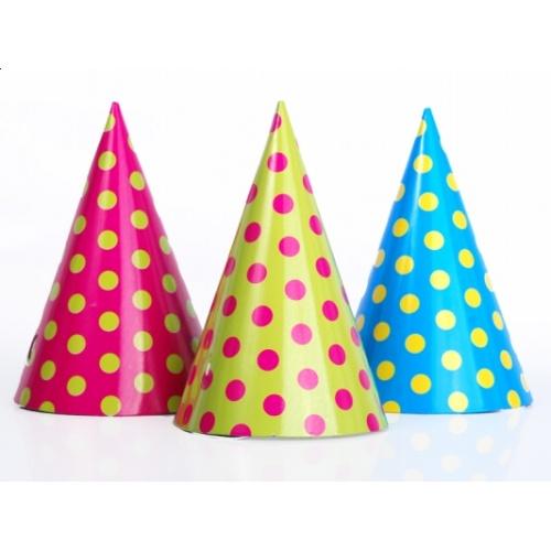 74e4e4e7d96 Party čepičky puntík mix barev 6ks