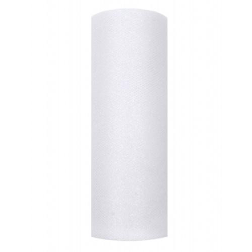 Tyl 15cm/9m bílý s glitrem