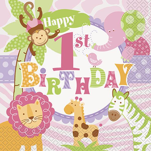 Ubrousky papírové růžové 1.narozeniny Safari 584161daf5