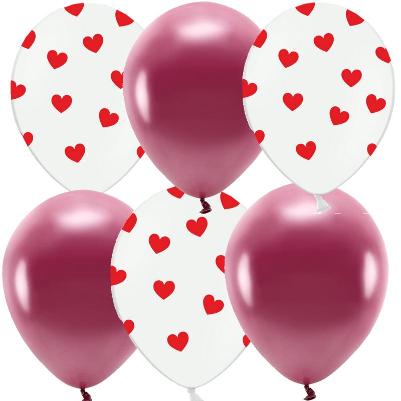 Levně BALONKY MIX bordo hearts 6 ks