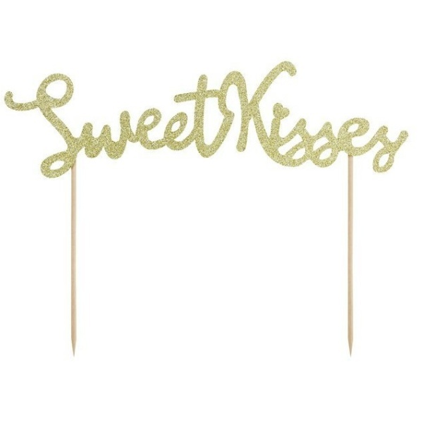 DEKORACE na dort Zápich Sweet Kisses zlatý