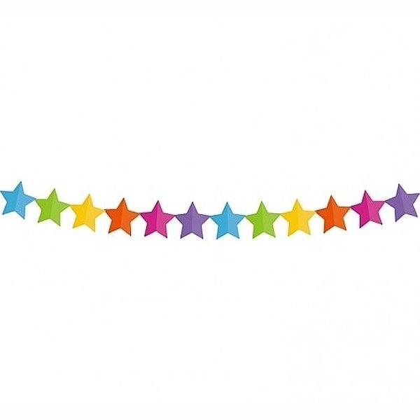 GIRLANDA barevná hvězdíčky 360x18x18cm