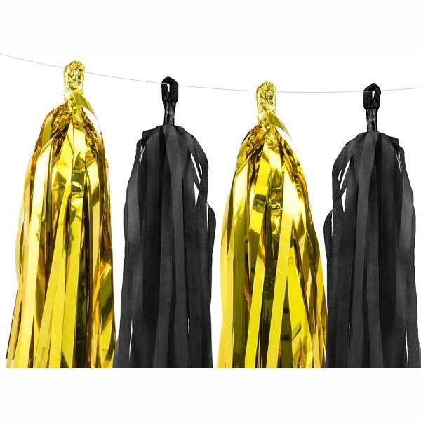 GIRLANDA třásně zlato černá 1,5m