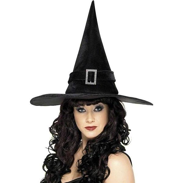 KLOBOUK Čarodějnícký černý s černou páskou