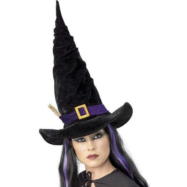 KLOBOUK Čarodějnícký s fialovou páskou černý