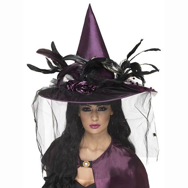 KLOBOUK čarodejnický fialový s pérem a závojem