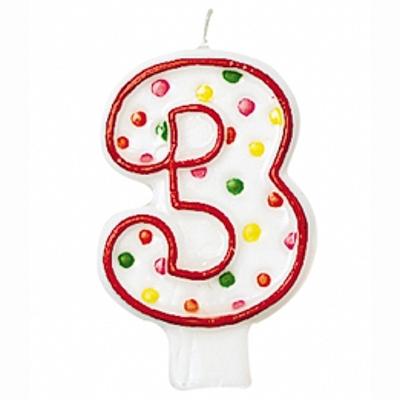 """SVÍČKA číslice """"3"""" s puntíky 1ks"""