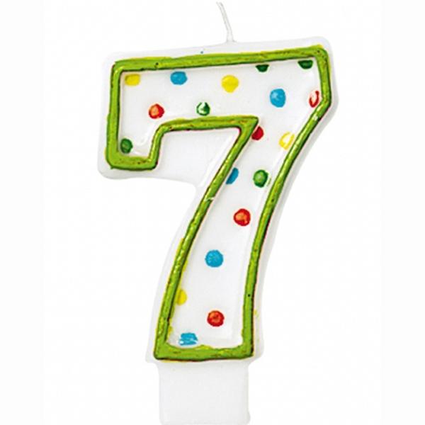 """SVÍČKA číslice """"7"""" s puntíky 1ks"""