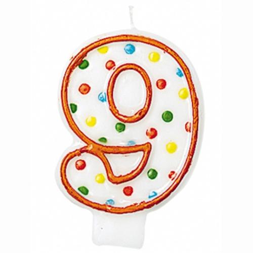 """SVÍČKA číslice """"9"""" s puntíky 1ks"""
