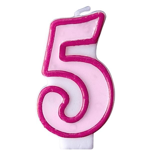 """SVÍČKA dortová """"5"""" růžová 1ks"""