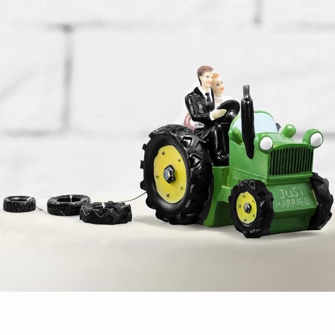 Svatební figurka Novomanželé na traktoru