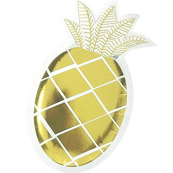 TALÍŘE papírové Ananas zlatý 25x14cm 6ks