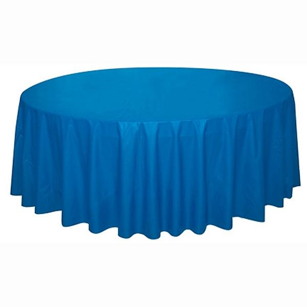 UBRUS z jemného plastu 210 cm kulatý modrý