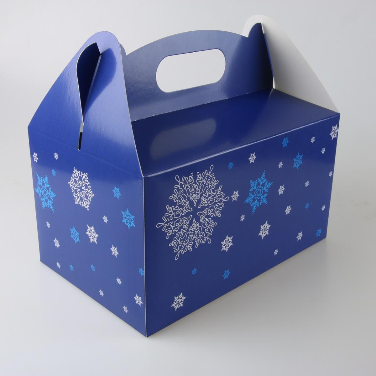 VÁNOČNÍ krabička modrá se sněhovými vločkami 8ks