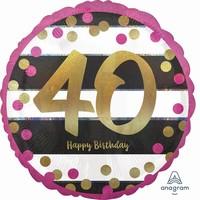 BALÓNEK kulatý 40.narozeniny růžovozlatý 0cd257dbdd