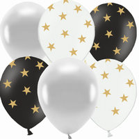 BALONKY MIX Stars black, silver, Gold 6ks