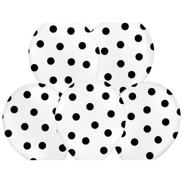 Balónek bílý s černými puntíky 50ks