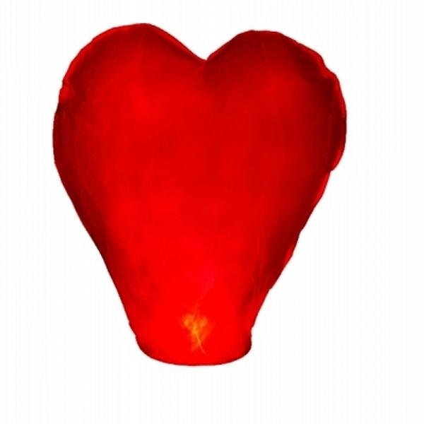 Létající lampión srdce červené