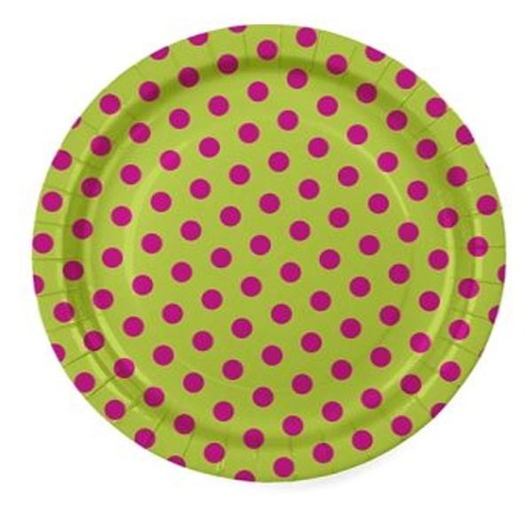 Talíře barevné s puntíky