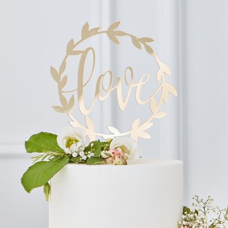 DEKORACE na dort LOVE zlatá