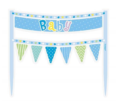"""DEKORACE na dort """"Baby"""" vlaječky modré"""