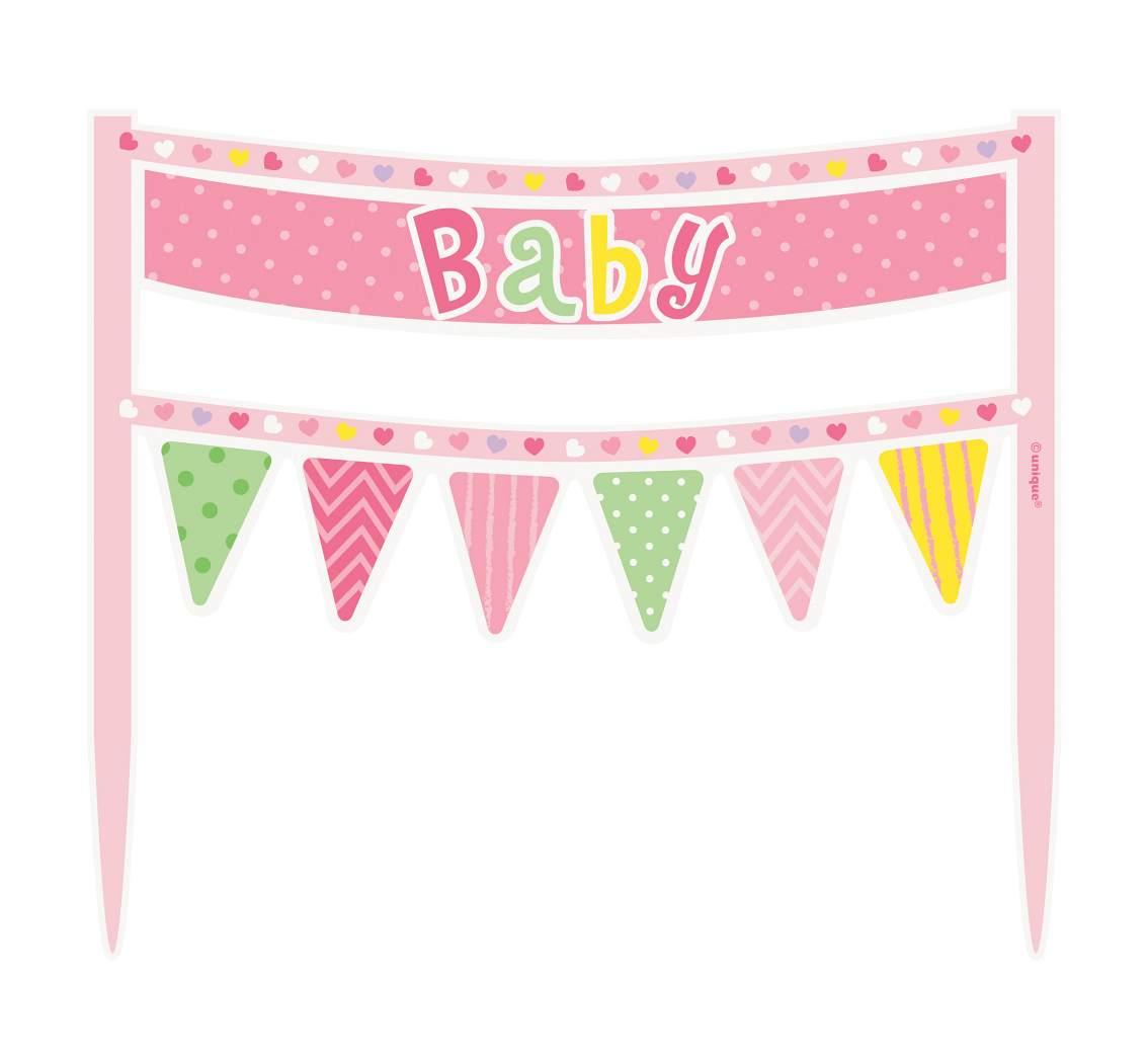 """DEKORACE NA DORT """"Baby"""" vlaječky růžové"""