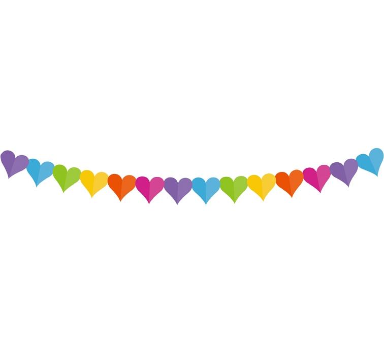 GIRLANDA barevná srdce 360 cm