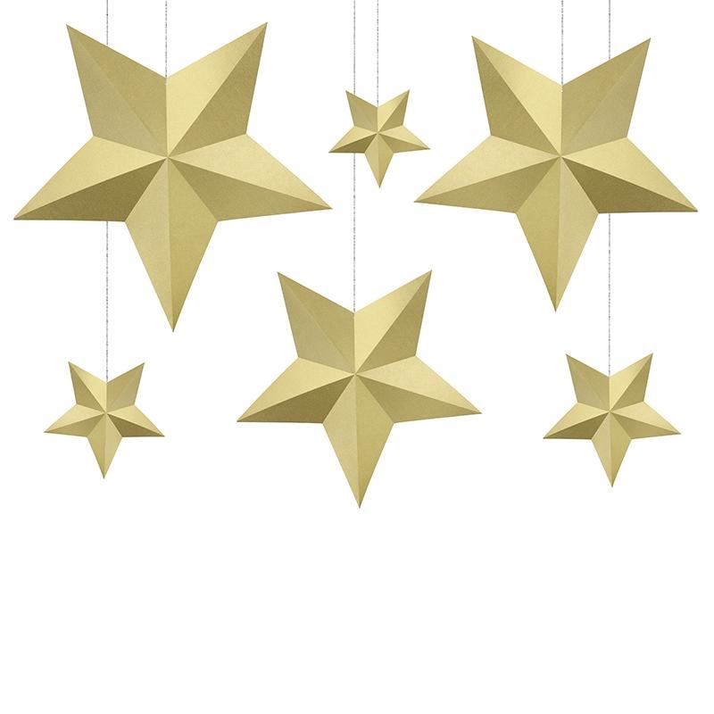 Dekorace závěsné hvězdy zlaté 6ks