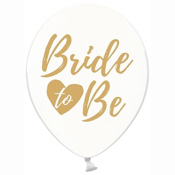 "BALÓNEK crystal bílý, zlaté ""Bride to be"" 6ks"