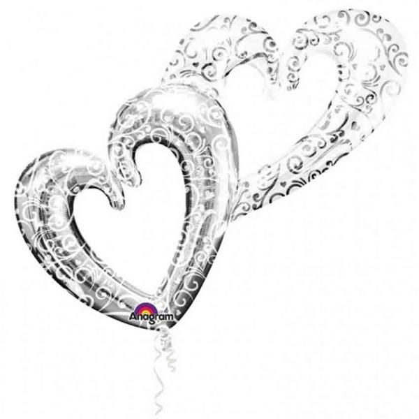BALÓNEK fóliový Srdce spojená stříbrná 134x91cm