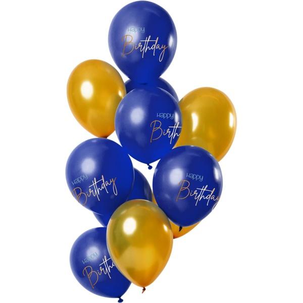 BALÓNKY latexové HB Elegant True Blue modré a zlaté 30cm 12ks