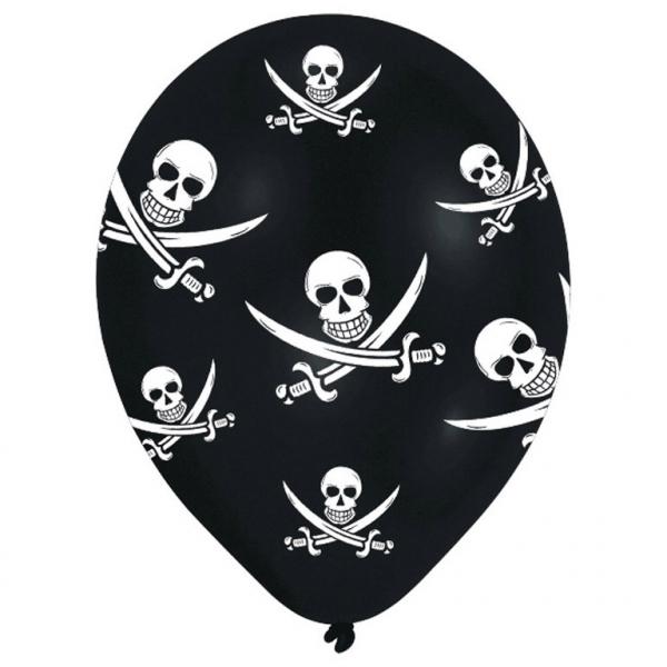 BALÓNKY latexové černé Pirátská lebka 6ks