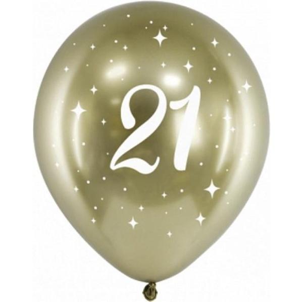 Levně BALÓNKY latexové chromové 21. narozeniny zlaté 30cm 6ks