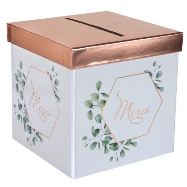 BOX na přání šestihran s lístky Rose Gold 20x20x20cm