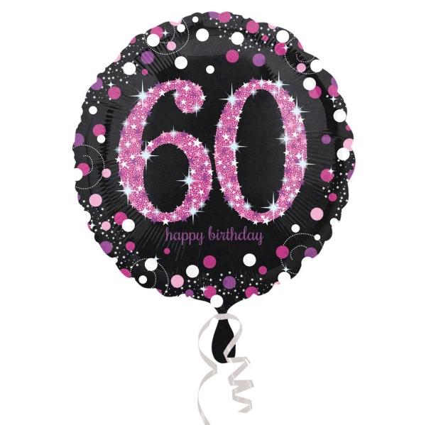 Levně Balónek fóliový Sparkling pink narozeniny 60 černorůžový 43 cm