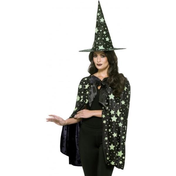 ČARODĚJNICKÝ klobouk a plášť černý s hvězdami svítícími ve tmě