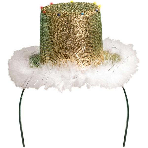 ČELENKA Klobouček zlatý s kožešinkou a LED světýlky