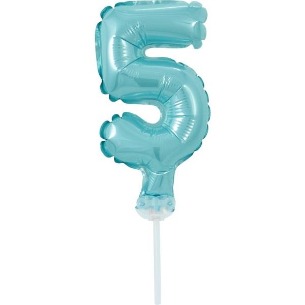 ČÍSLICE NA DORT nafukovací - 5 modrá, 13cm