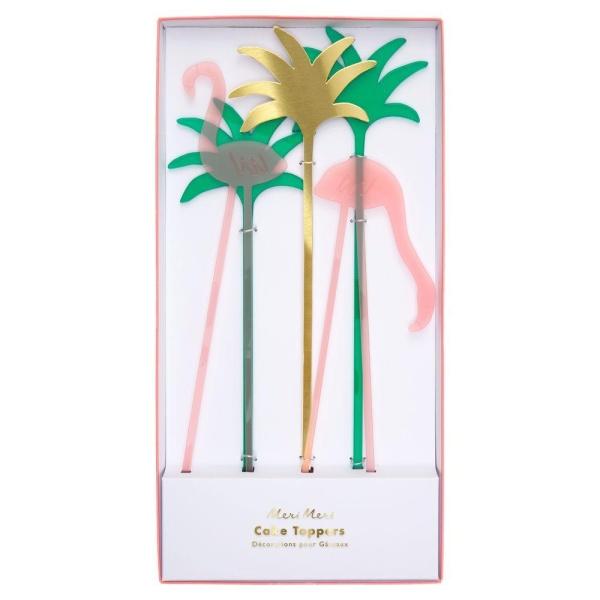 DEKORACE na dort Plameňáci a palmy