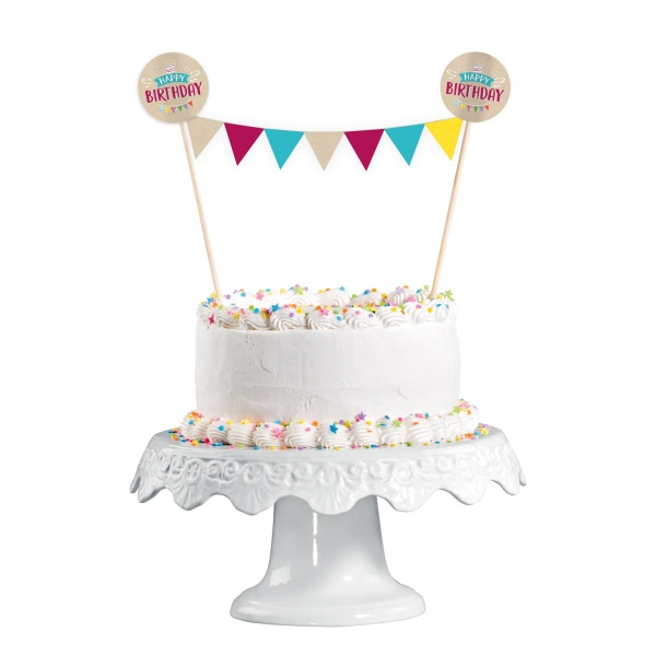 DEKORACE na dort s vlaječkovou minigirlandou My Birthday Party