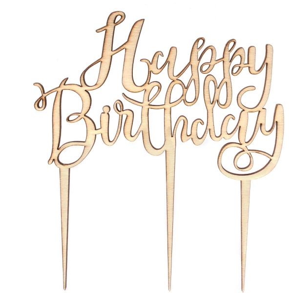 Dekorace na dort dřevěná Happy Birthday