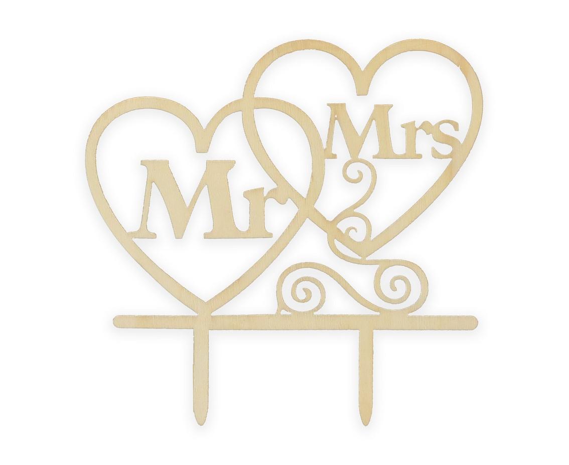 Dekorace na dort dřevěná Mr&Mrs.