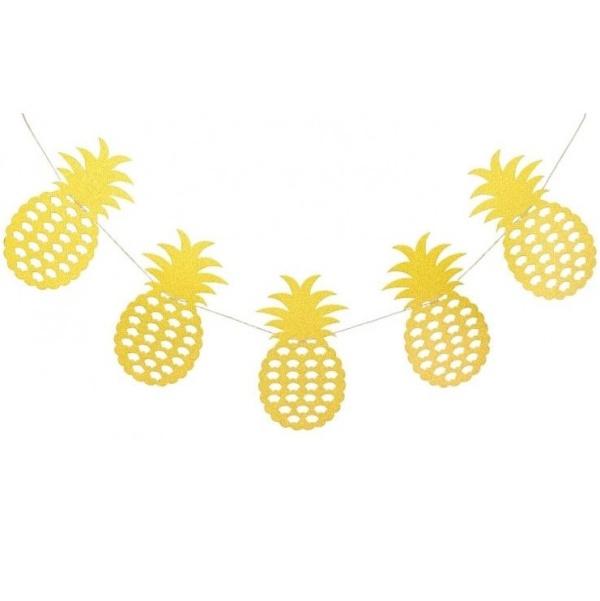 GIRLANDA Ananas glitr zlatý 3m