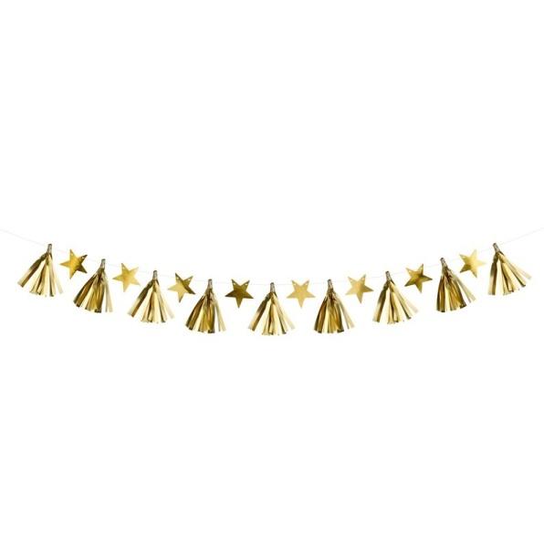 GIRLANDA Hvězdy zlatá 1,3m