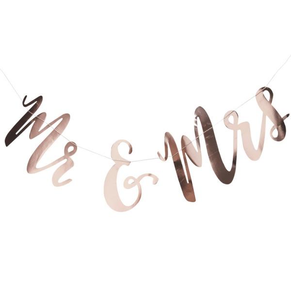 GIRLANDA Mr&Mrs růžové zlato 1,5mx22cm