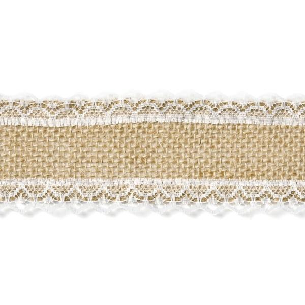 Jutová stuha s krajkou po stranách širší 5x500 cm