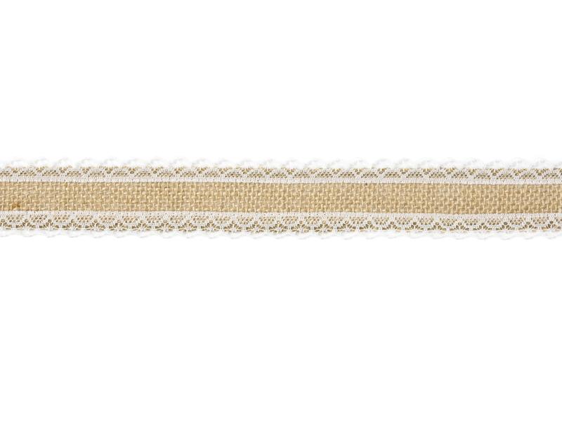Jutová stuha s krajkou po stranách úzká 4x500 cm