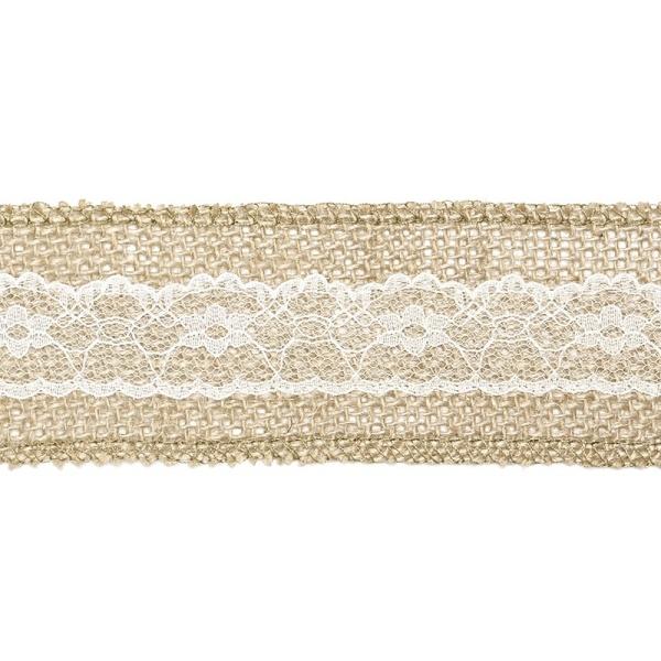 Jutová stuha s krajkou romantik 5x500 cm
