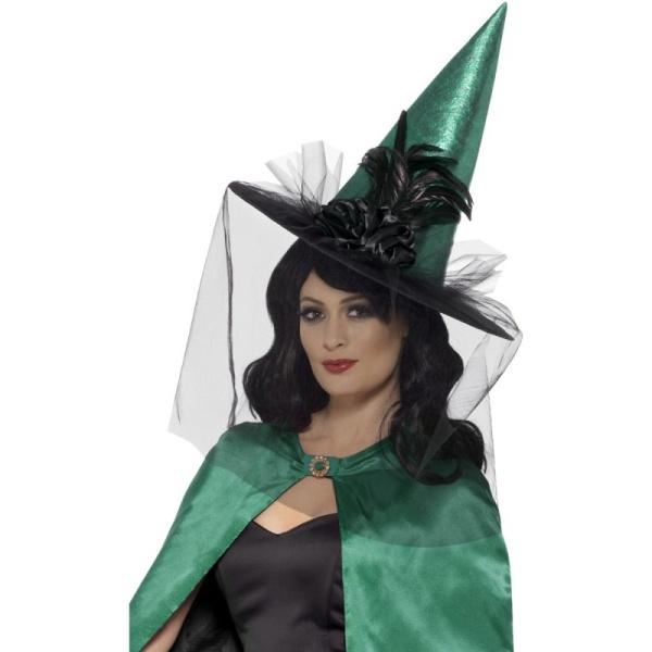 KLOBOUK čarodějnický deluxe zelenočerný 1ks
