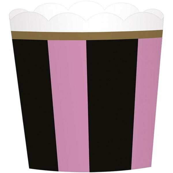 KOŠÍČKY na cupcakes Den v Paříži růžovočerné 24ks